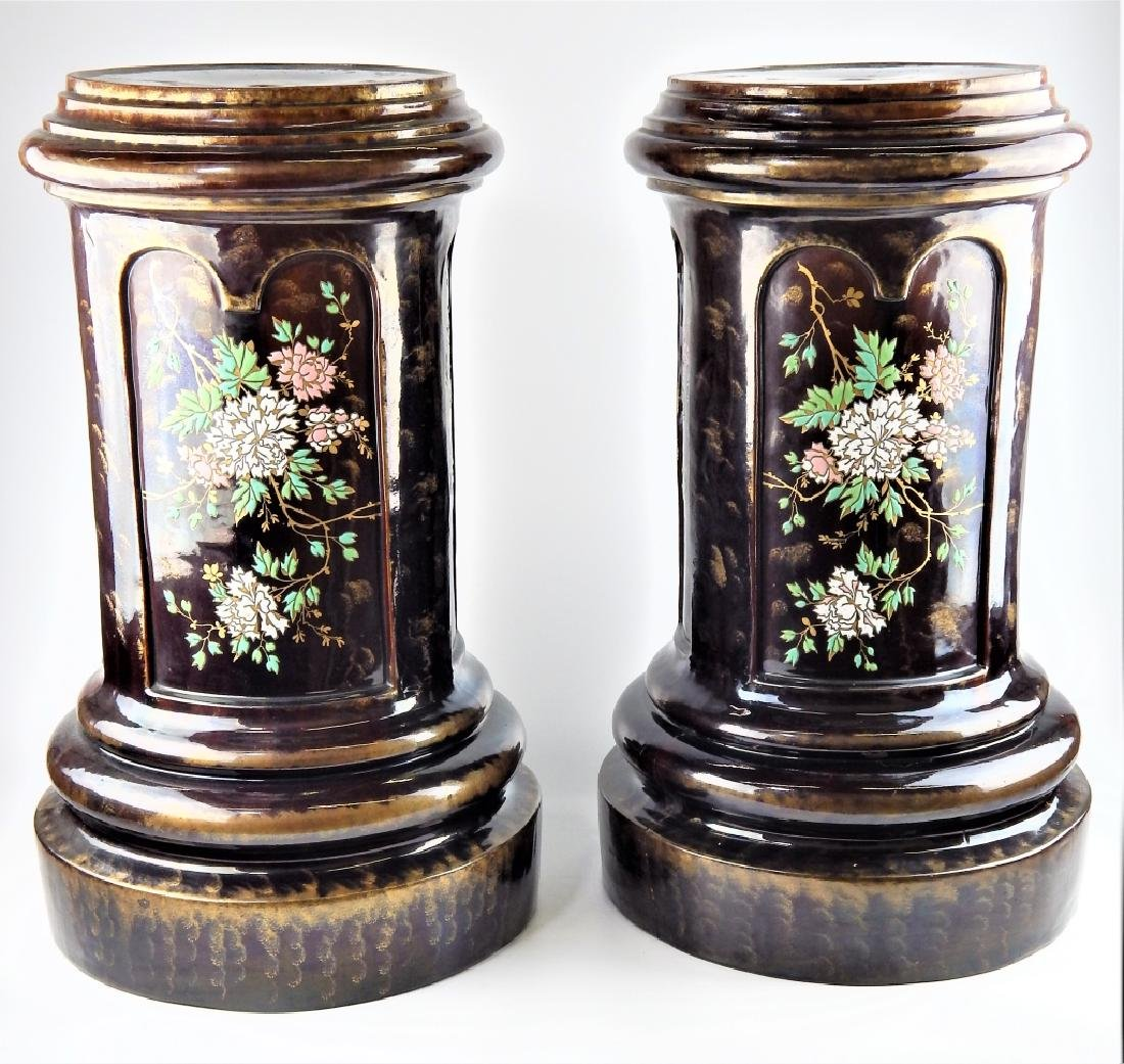 PAIR MAJOLICA ENAMEL POTTERY FLORAL PLANTER STANDS