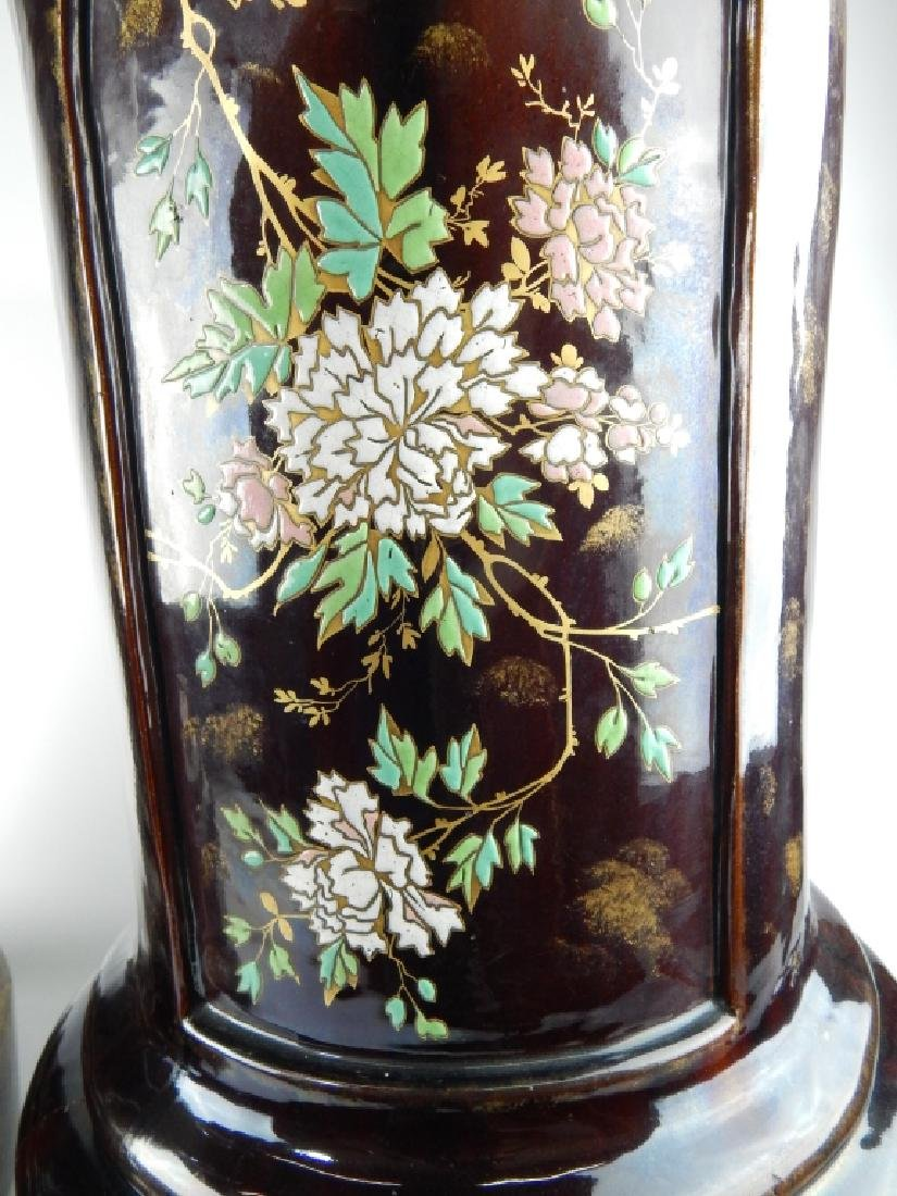 PAIR MAJOLICA ENAMEL POTTERY FLORAL PLANTER STANDS - 2