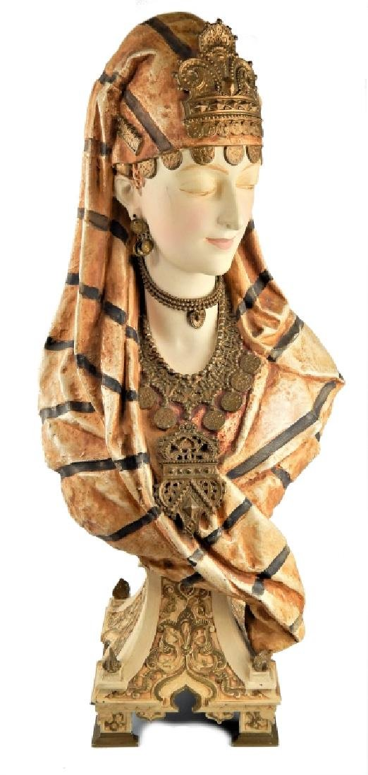 19th C FRENCH ORIENTALIST PAINTED SPELTER BUST