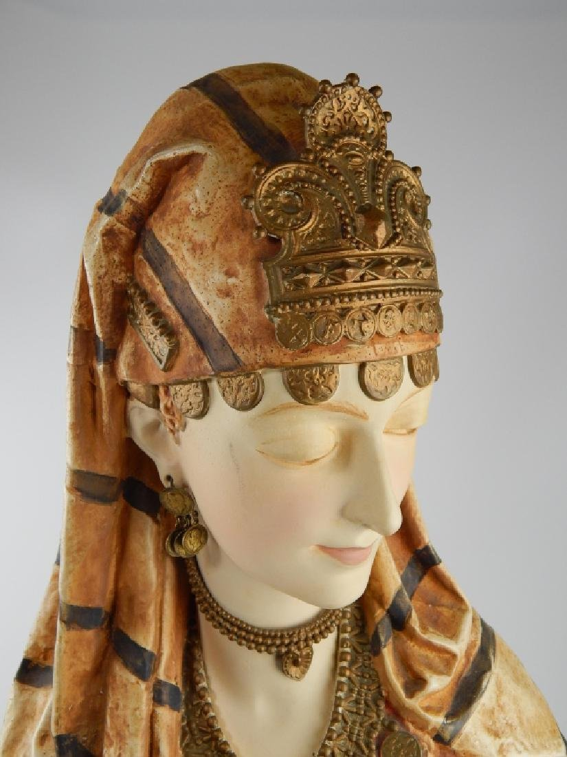 19th C FRENCH ORIENTALIST PAINTED SPELTER BUST - 2