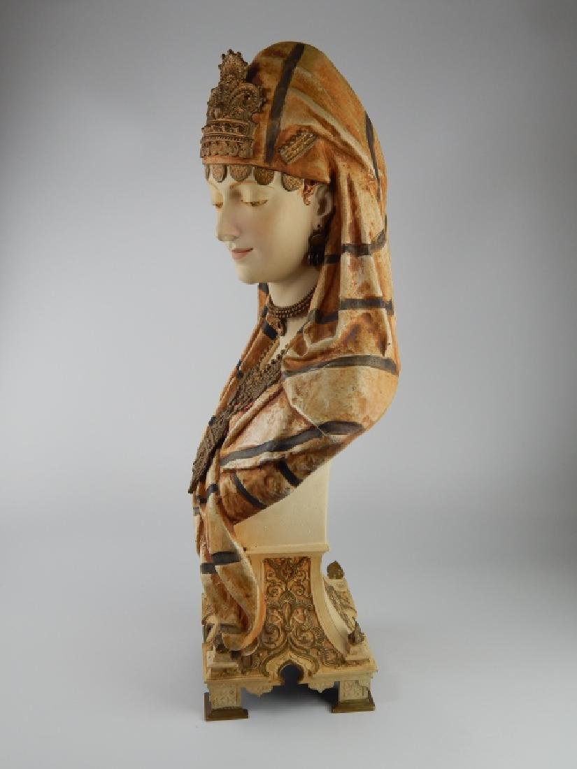 19th C FRENCH ORIENTALIST PAINTED SPELTER BUST - 5