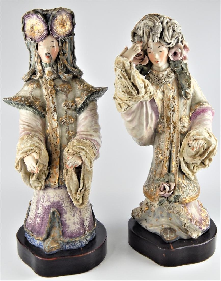 PAIR OF CORDEY CHINESE EMPEROR AND EMPRESS FIGURES