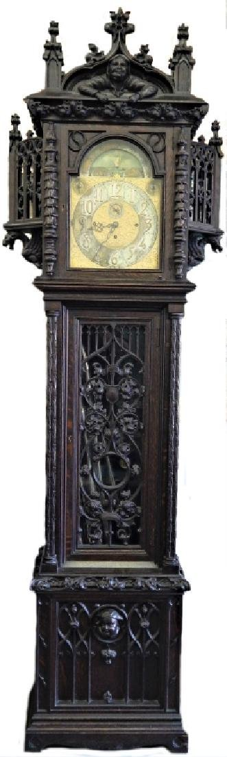 IMPORTANT TIFFANY GOTHIC OAK GRANDFATHER CLOCK