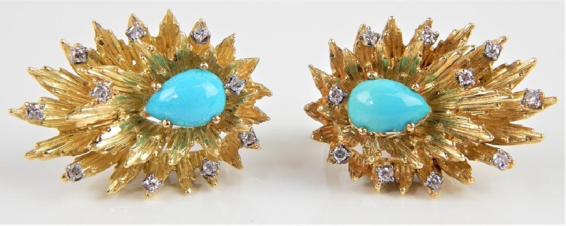 By CH TURQUOISE & DIAMOND 18K SUNBURST EARRINGS