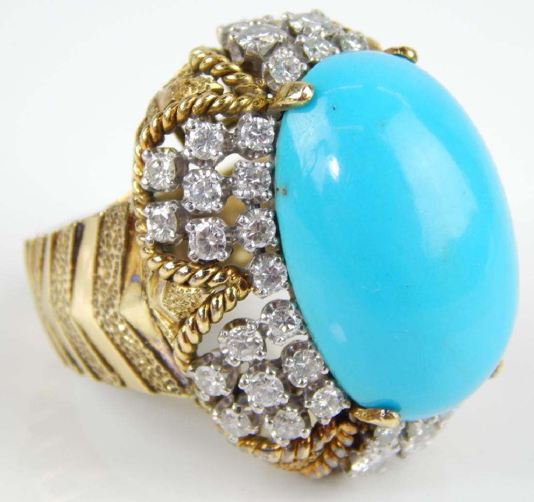 JG JEWELRY TURQUOISE & DIAMOND 18K CABOCHON RING