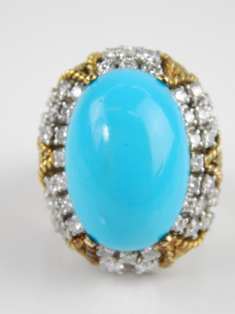 JG JEWELRY TURQUOISE & DIAMOND 18K CABOCHON RING - 2