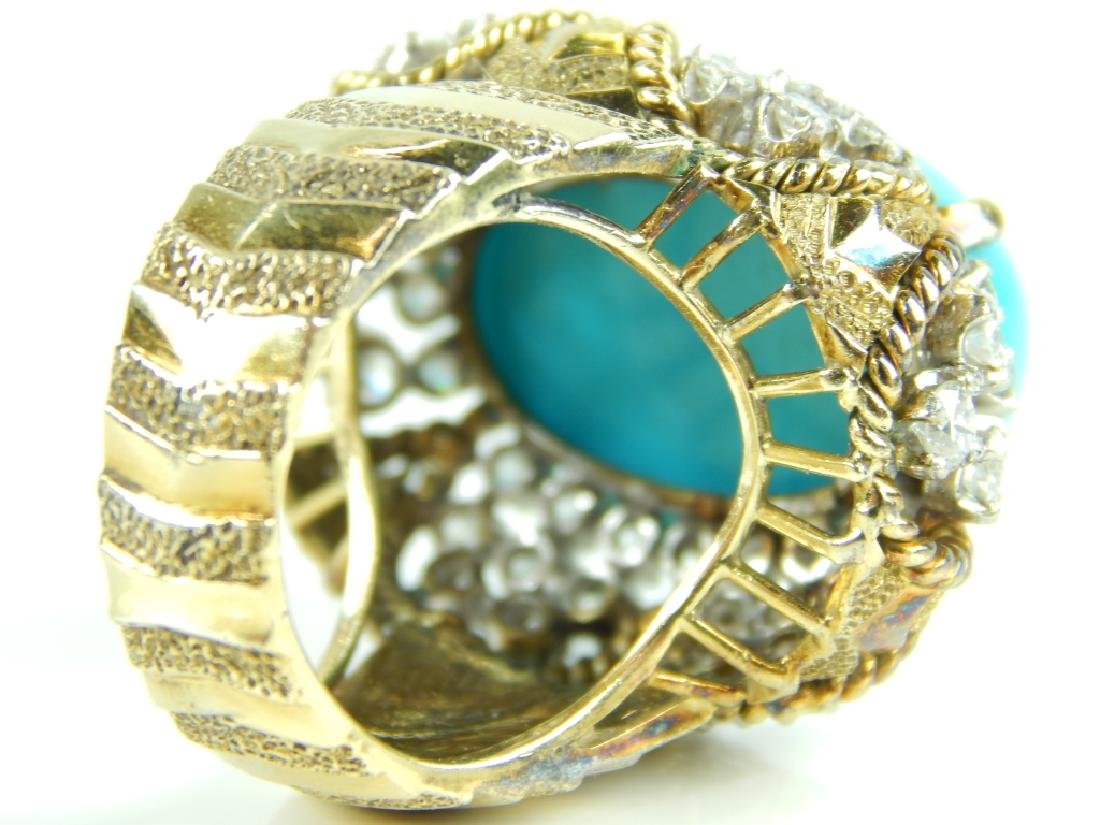 JG JEWELRY TURQUOISE & DIAMOND 18K CABOCHON RING - 4
