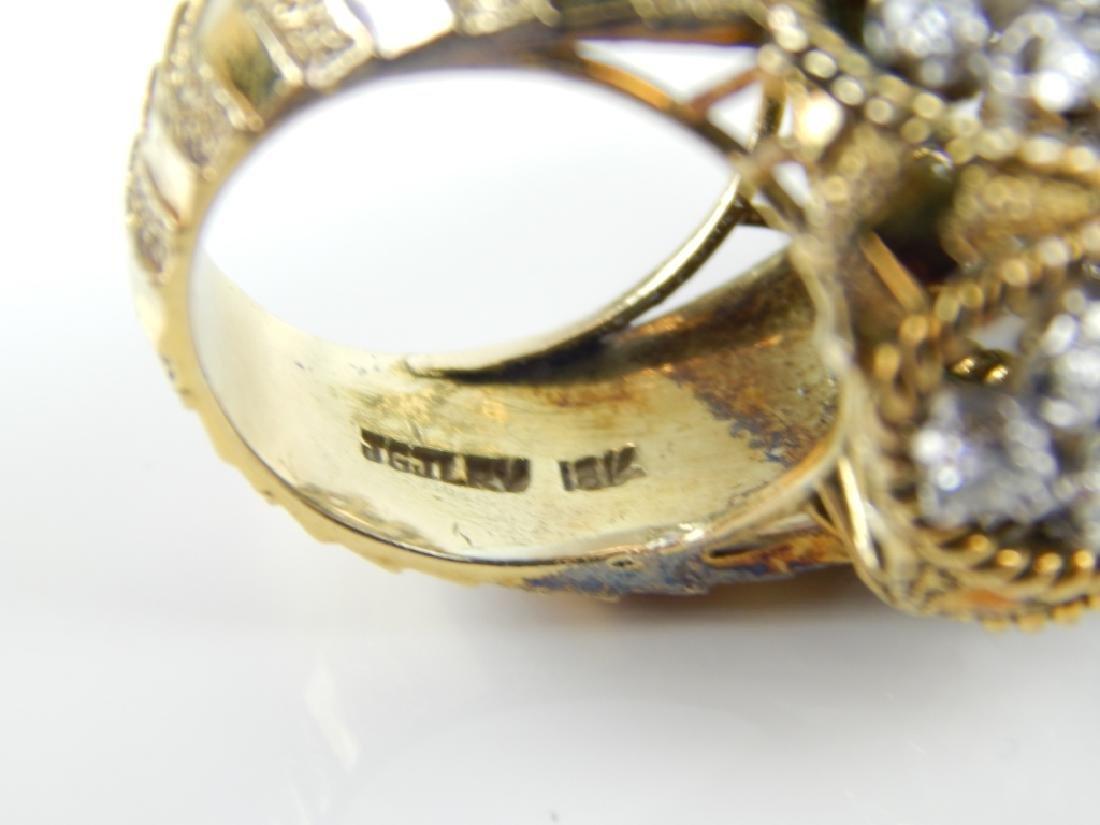 JG JEWELRY TURQUOISE & DIAMOND 18K CABOCHON RING - 5