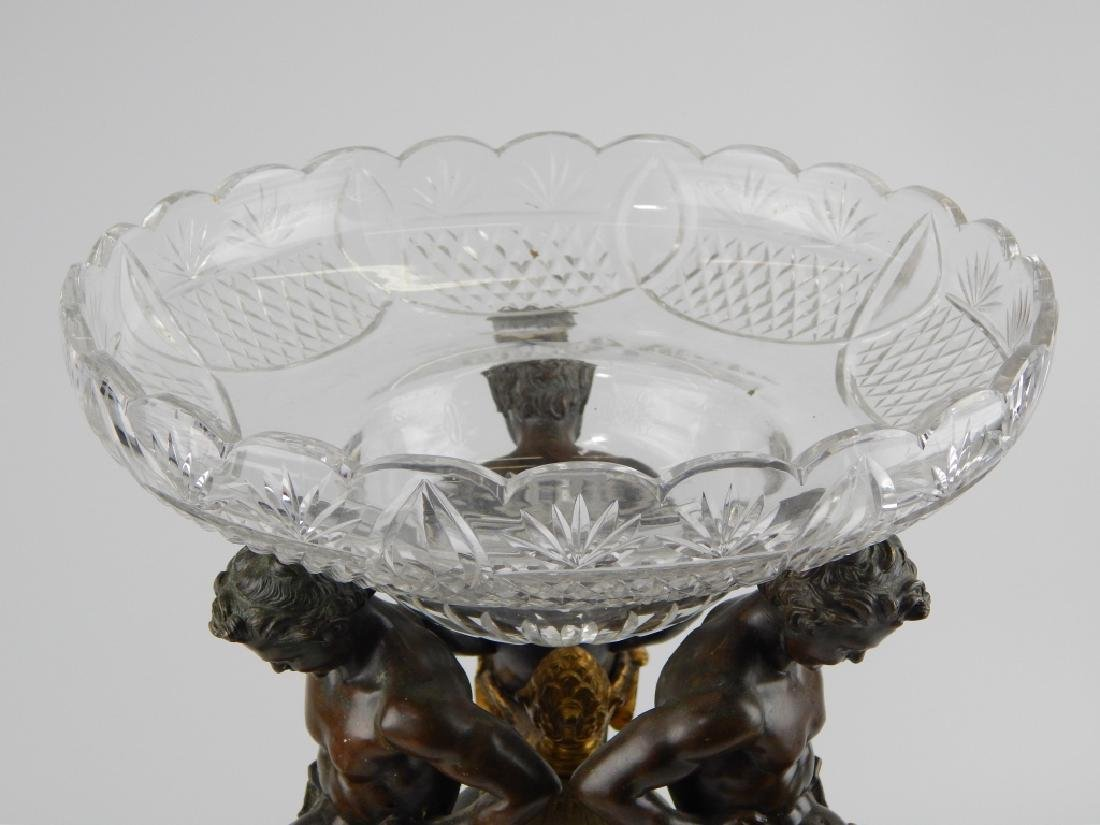 ANTIQUE FRENCH EMPIRE BRONZE & CUT CRYSTAL COMPOTE - 3