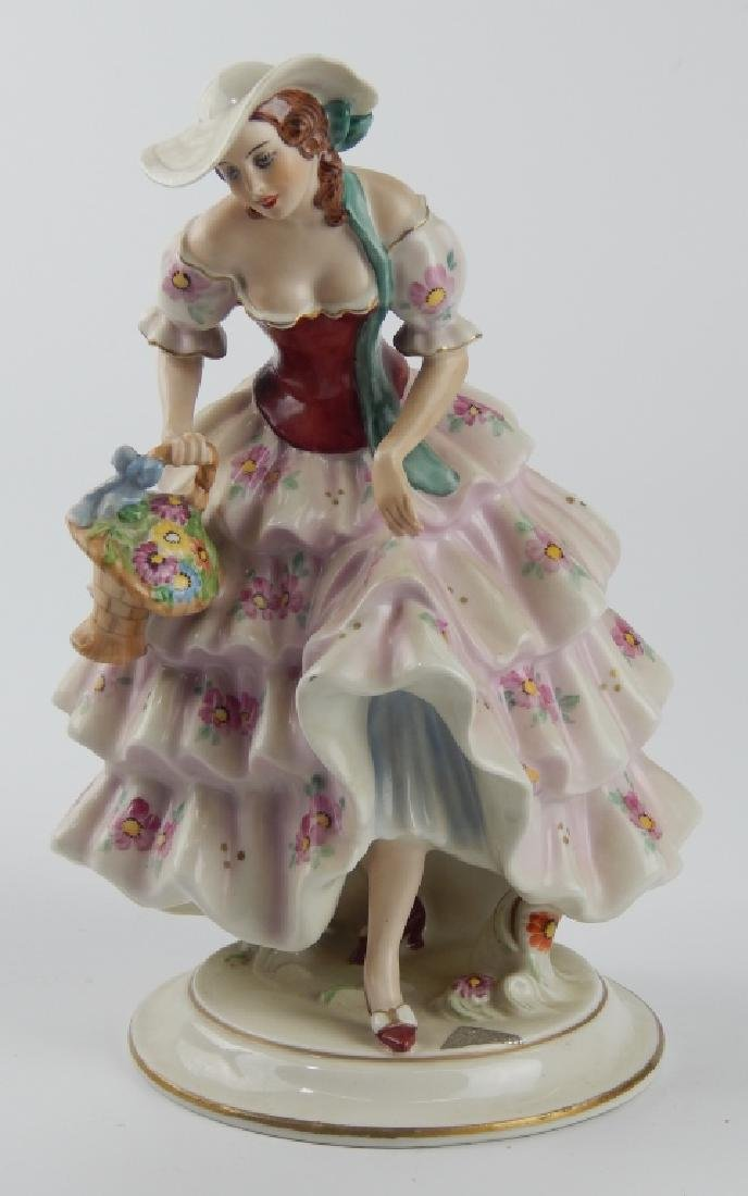 ROYAL DUX TAUBE PORCELAIN LADY WITH BASKET FIGURE