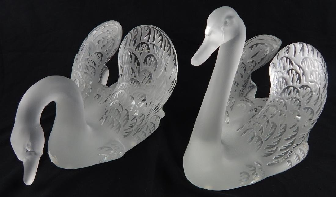 TWO LALIQUE FRENCH CRYSTAL SWANS ON MIRROR BASE - 2