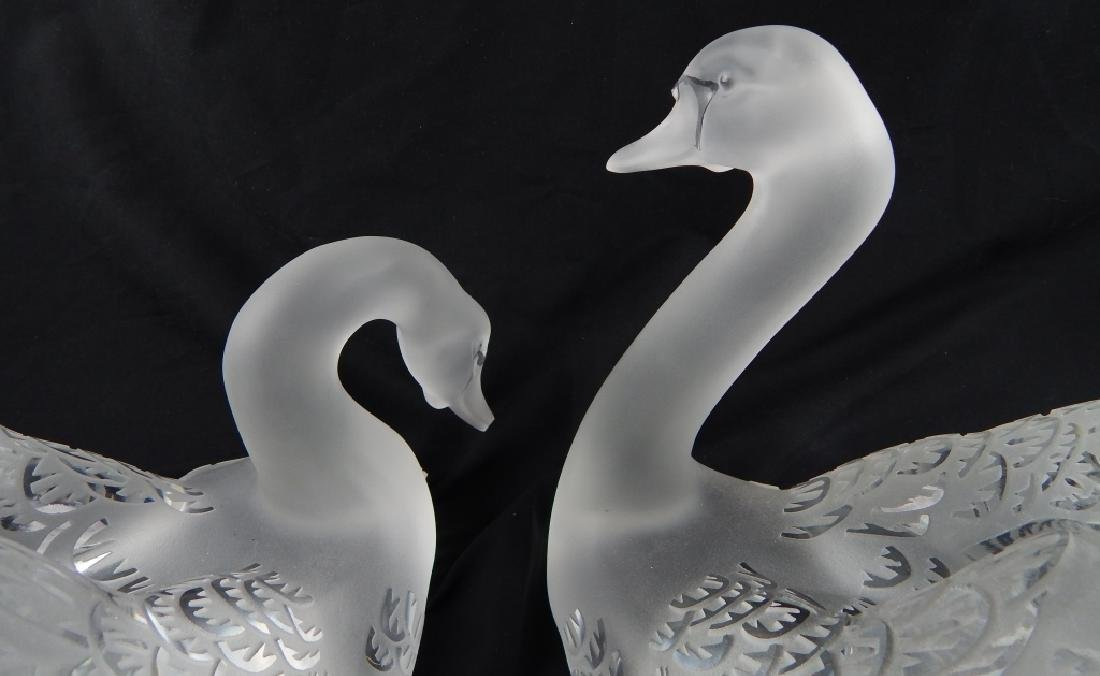 TWO LALIQUE FRENCH CRYSTAL SWANS ON MIRROR BASE - 4