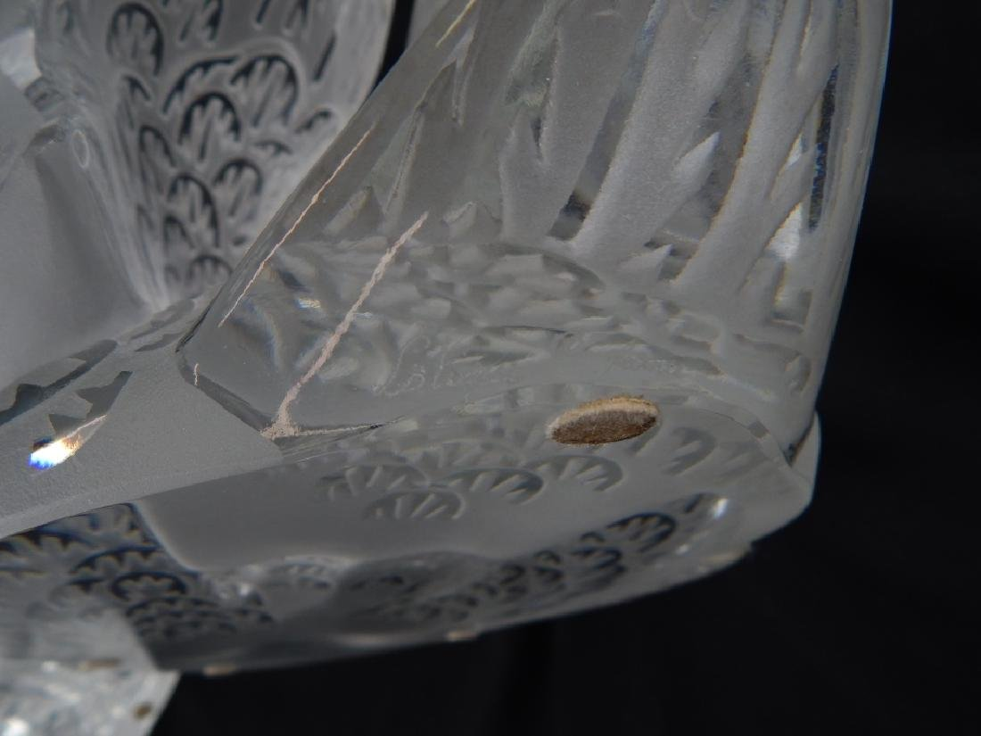 TWO LALIQUE FRENCH CRYSTAL SWANS ON MIRROR BASE - 6