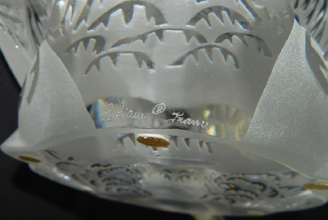 TWO LALIQUE FRENCH CRYSTAL SWANS ON MIRROR BASE - 8