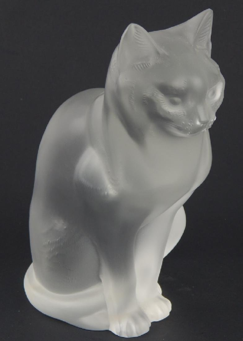 LALIQUE FRENCH CRYSTAL SITTING CAT CHAT ASSIS