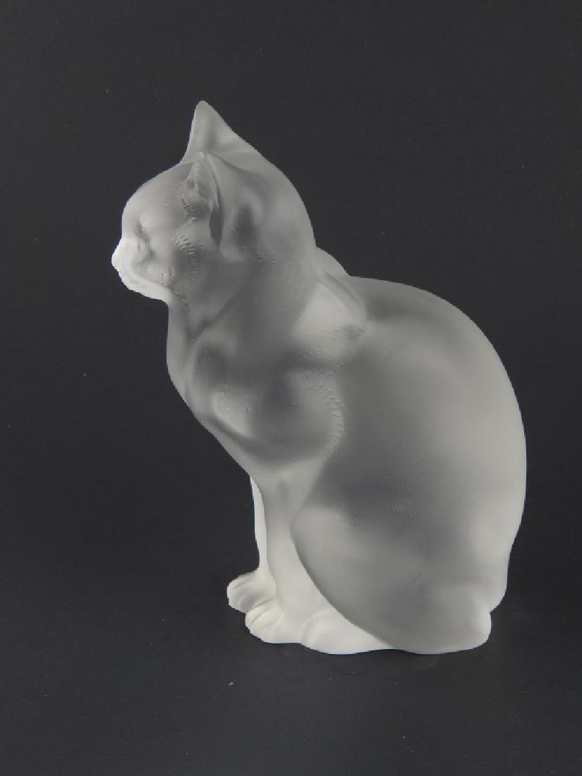LALIQUE FRENCH CRYSTAL SITTING CAT CHAT ASSIS - 2