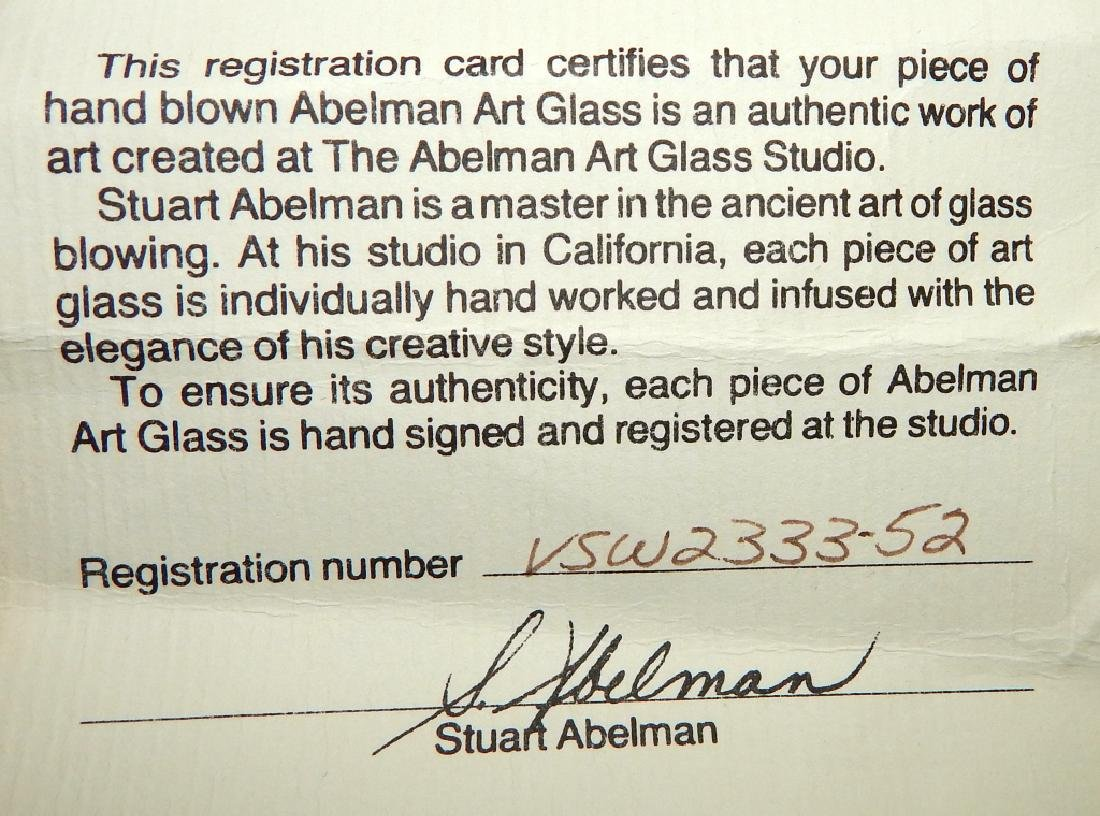 STUART ABELMAN CRANBERRY IRIDESCENT THREADED VASE - 7