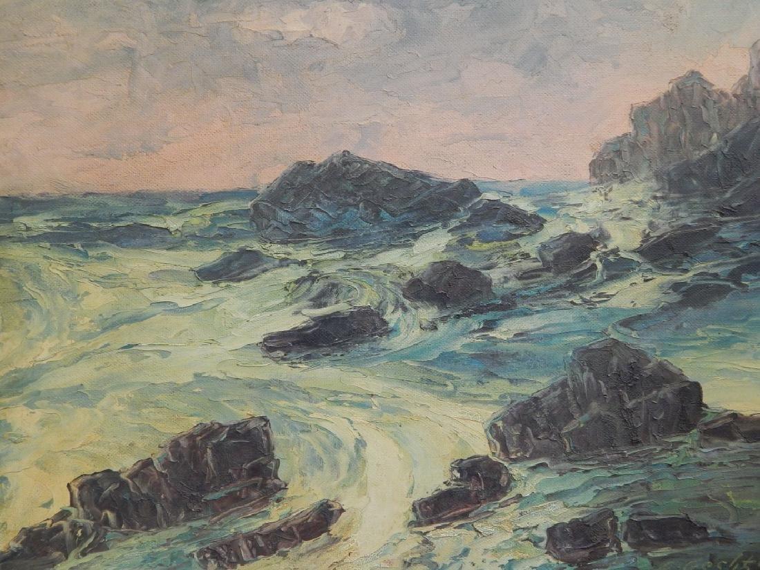 1939 L GECHTOFF SEASCAPE OIL PAINTING ON MASONITE