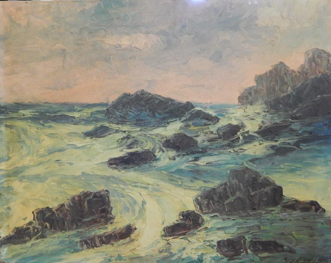 1939 L GECHTOFF SEASCAPE OIL PAINTING ON MASONITE - 2