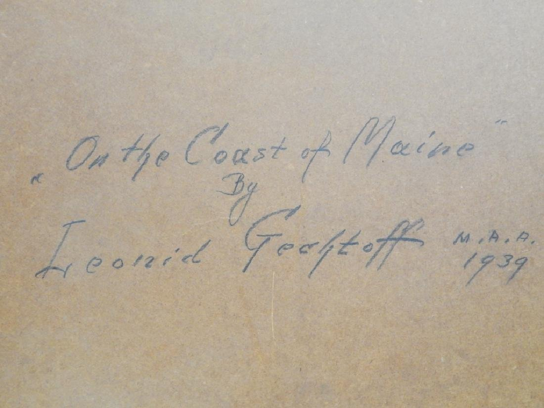 1939 L GECHTOFF SEASCAPE OIL PAINTING ON MASONITE - 6