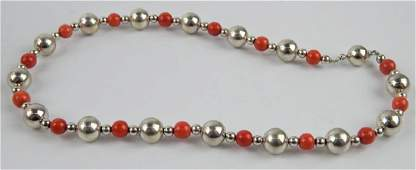 TIFFANY & CO SALMON CORAL STERLING BEADED NECKLACE