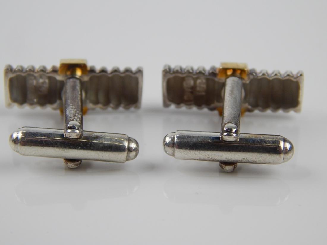 TIFFANY & CO SAPPHIRE 18K STERLING CUFF LINKS - 2