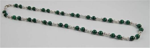 TIFFANY & CO STERLING MALACHITE BEADED NECKLACE
