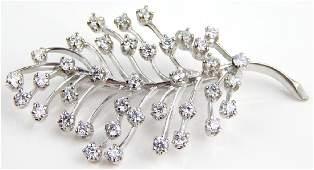 PLATINUM 2.6CT DIAMOND LEAF FORM BROOCH PIN
