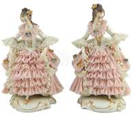Pr OF FRANZ WITTER DRESDEN LACE PORCELAIN LADIES