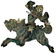 CHINESE WARRIOR ON QILIN POTTERY CERAMIC ROOF TILE