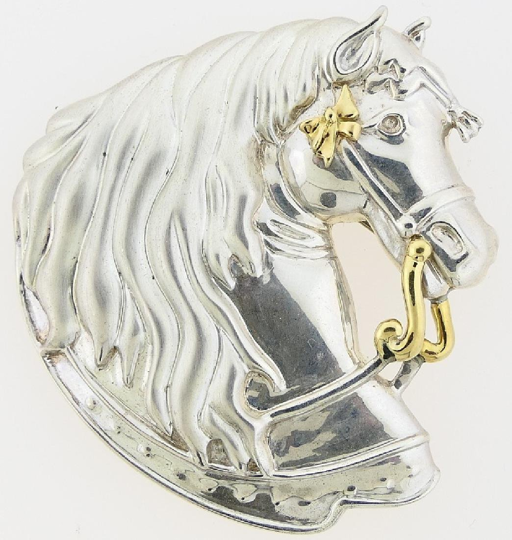 GUCCI STERLING SILVER W/ 18K HORSE HEAD BROOCH