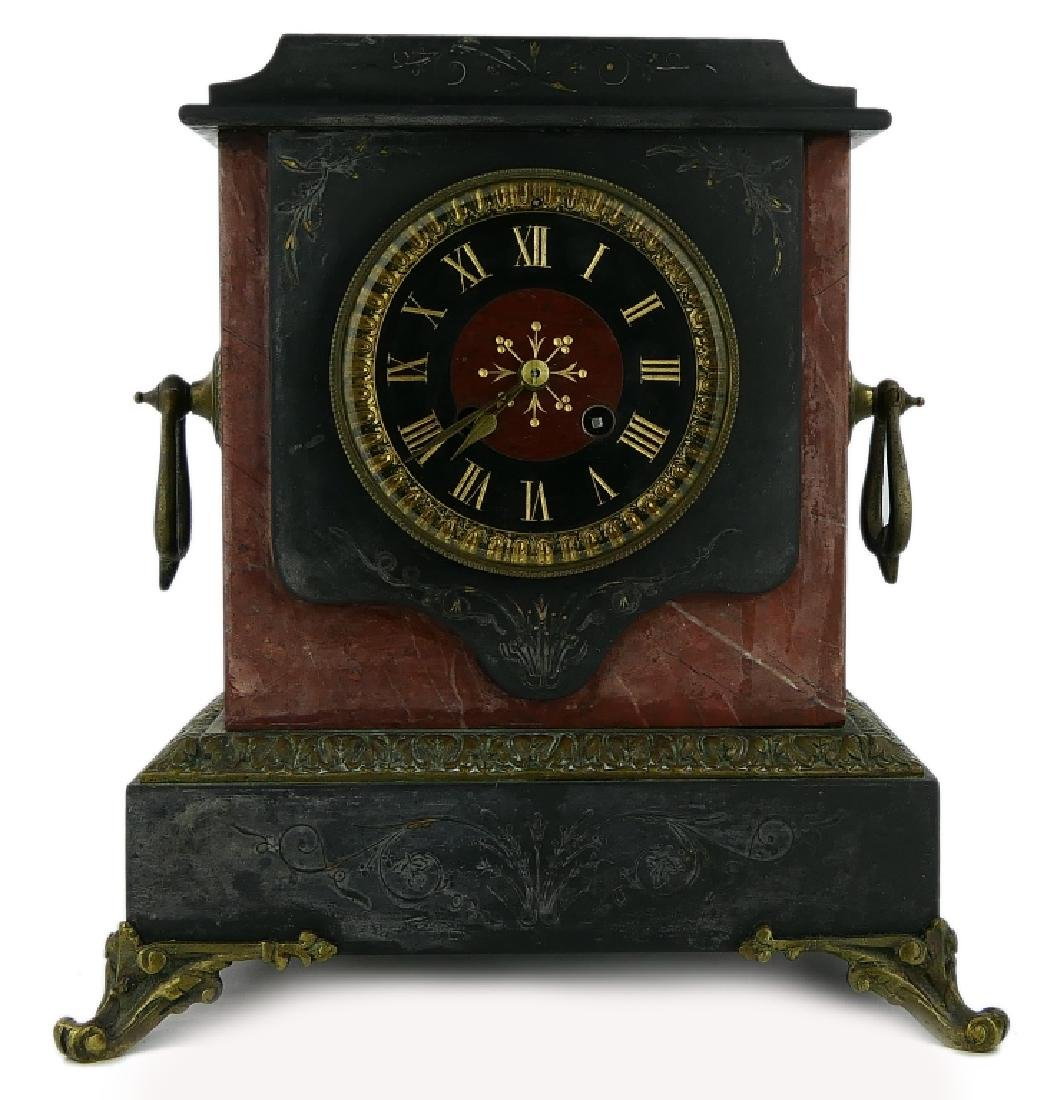 JAPY FRERES FRENCH BLACK ONYX ORMULU MANTLE CLOCK