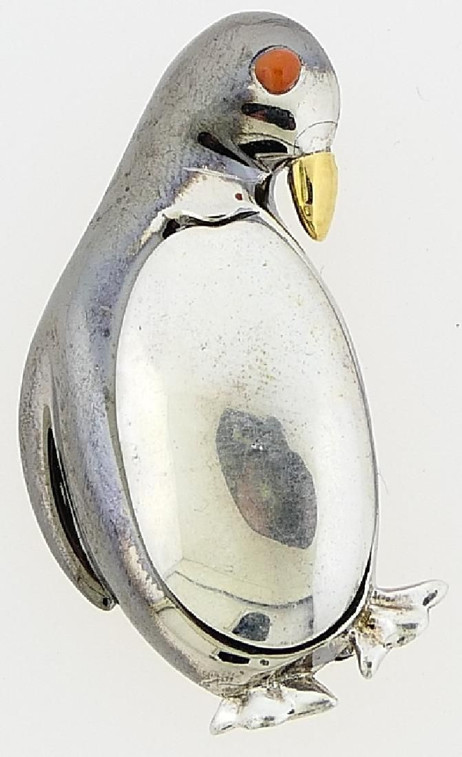 """TIFFANY & CO """"PENGUIN"""" STERLING W/ CORAL BROOCH"""