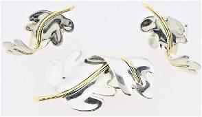 3pc TIFFANY & CO 18K STERLING LEAF BROOCH EARRINGS