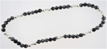 TIFFANY  CO STERLING SNOWFLAKE OBSIDIAN NECKLACE