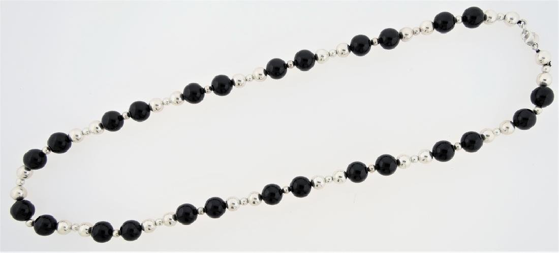 TIFFANY & CO STERLING BLACK ONYX BEADED NECKLACE