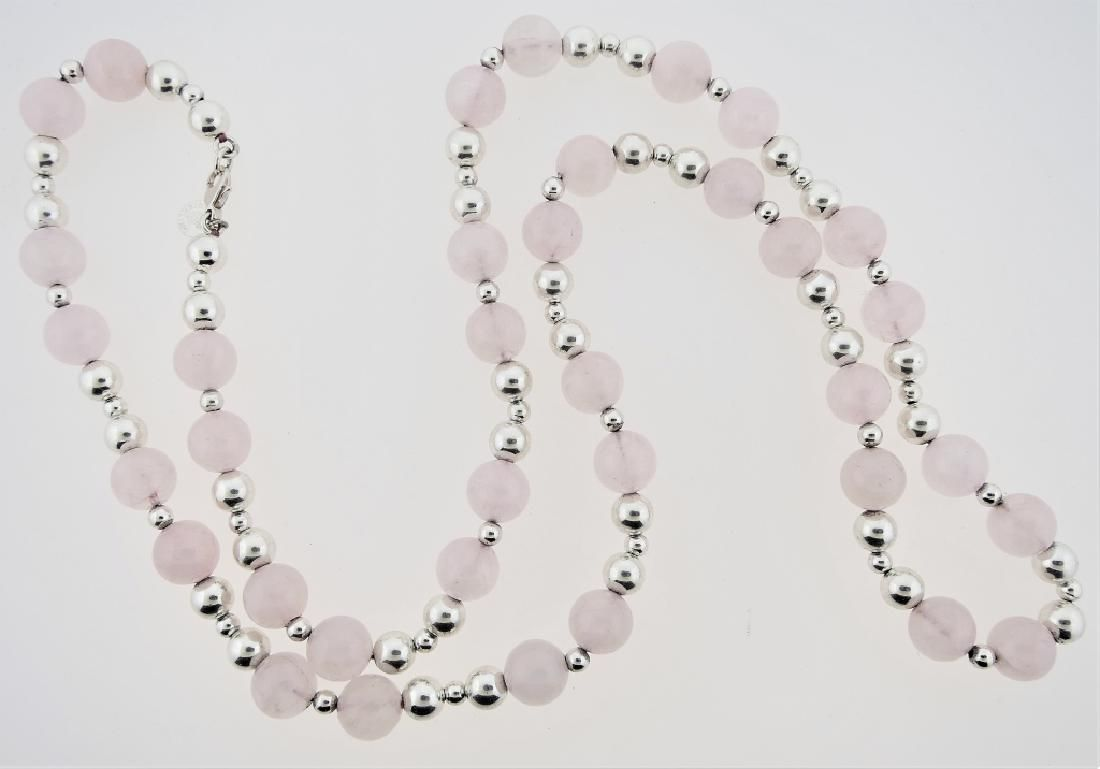 TIFFANY & CO STERLING ROSE QUARTZ BEADED NECKLACE