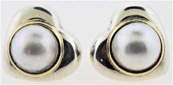 TIFFANY & CO 18K STERLING PEARL HEART EARRINGS