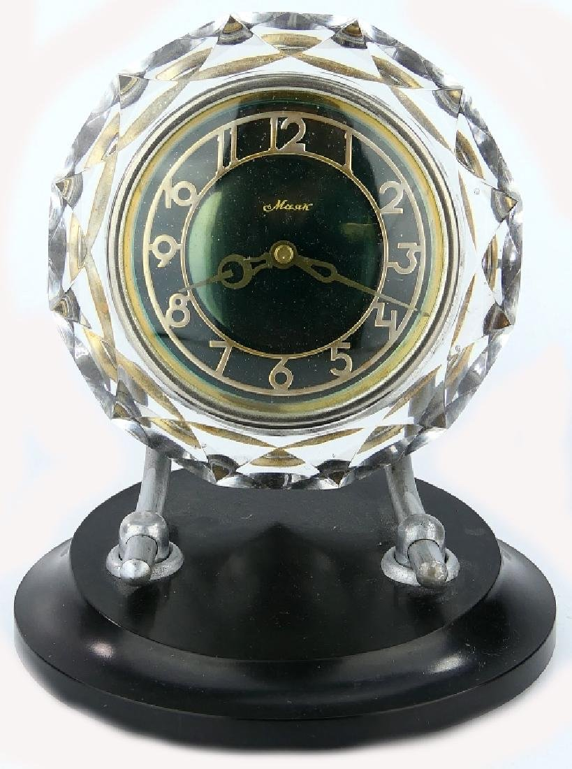 SOVIET RUSSIAN LUCITE ACRYLIC MANTLE TABLE CLOCK