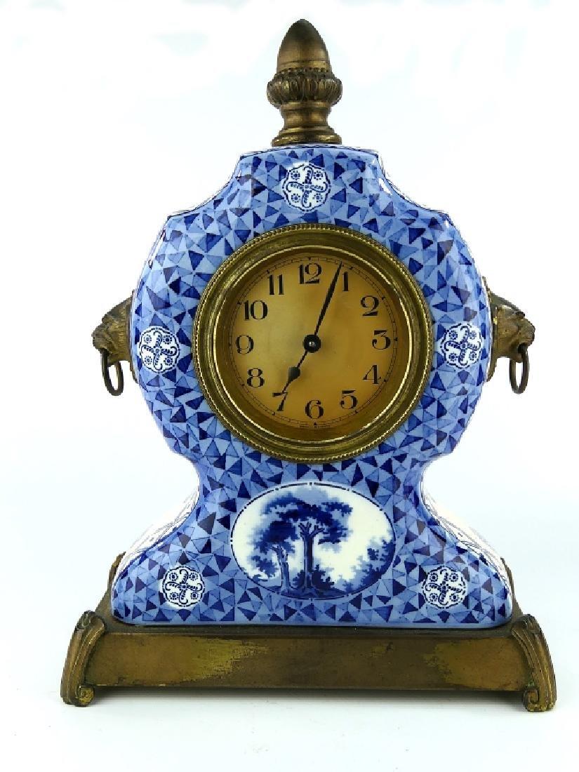 GERMAN BLUE & WHITE PORCELAIN MANTLE CLOCK