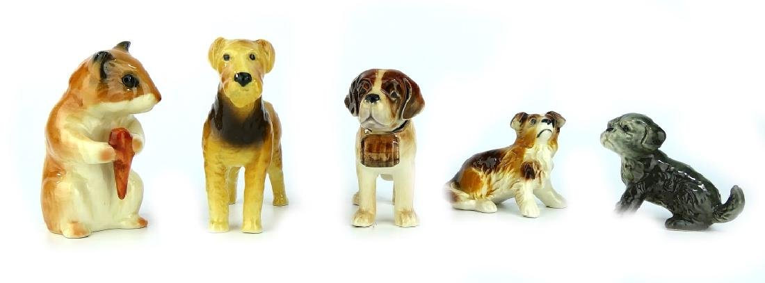 5 GOEBEL PORCELAIN DOG & GERBIL ANIMAL FIGURES