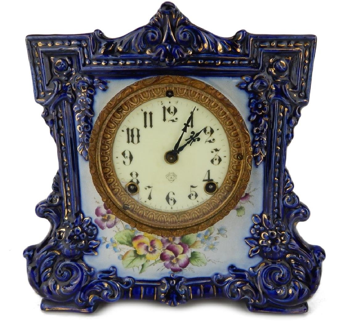 "ANSONIA ""WICKET"" PORCELAIN CASE MANTLE CLOCK"
