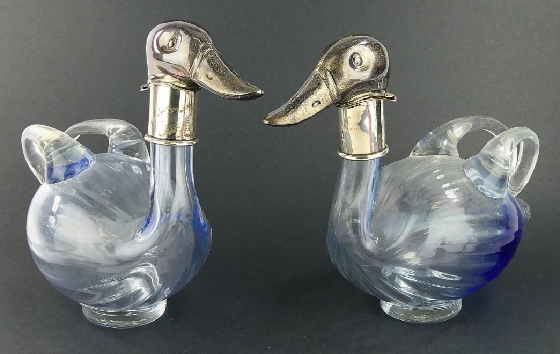 Pr URI BLOCH 950 SILVER GLASS DUCK CLARET PITCHERS
