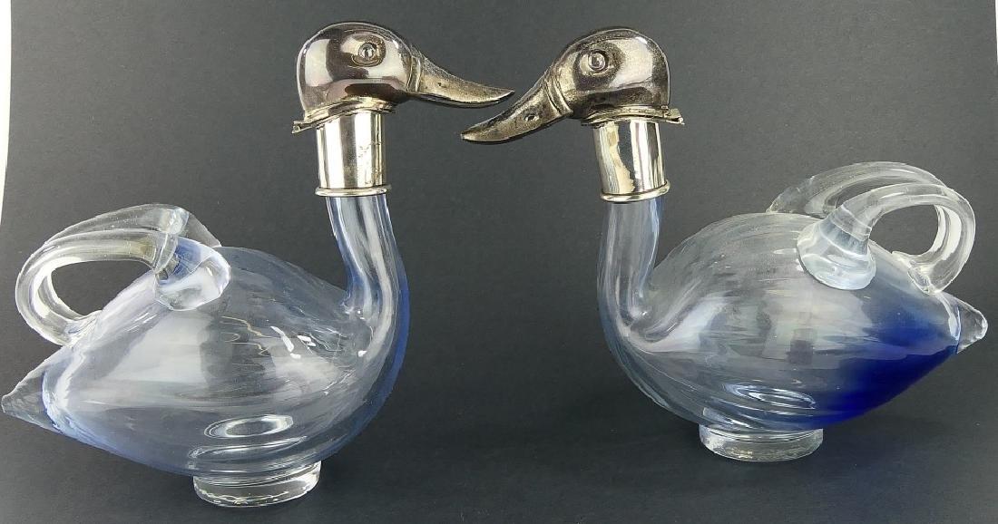 Pr URI BLOCH 950 SILVER GLASS DUCK CLARET PITCHERS - 3