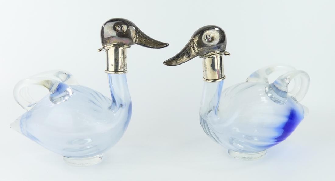 Pr URI BLOCH 950 SILVER GLASS DUCK CLARET PITCHERS - 7