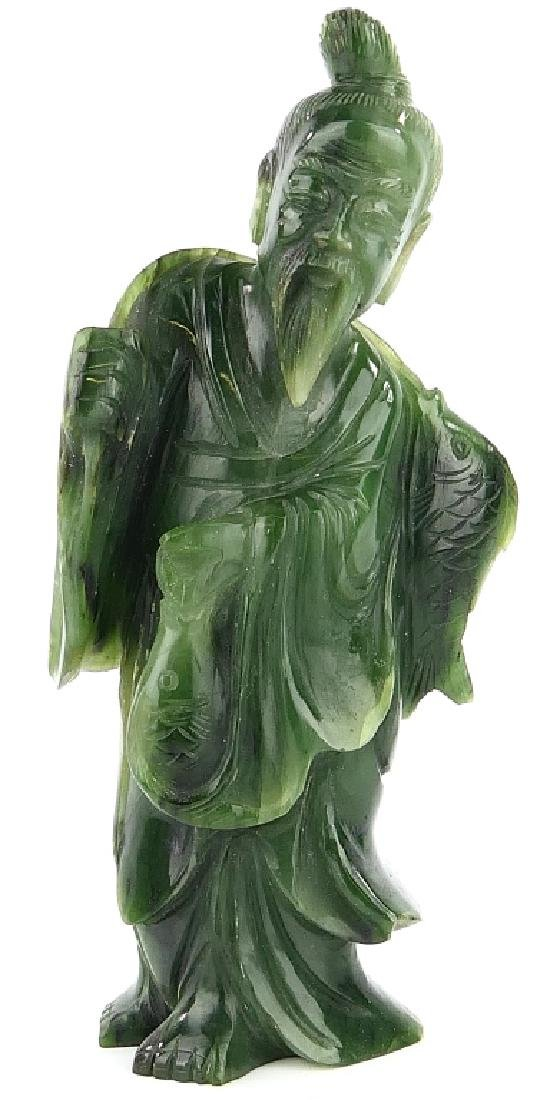 CHINESE SPINACH JADE STANDING FISHERMAN SCULPTURE
