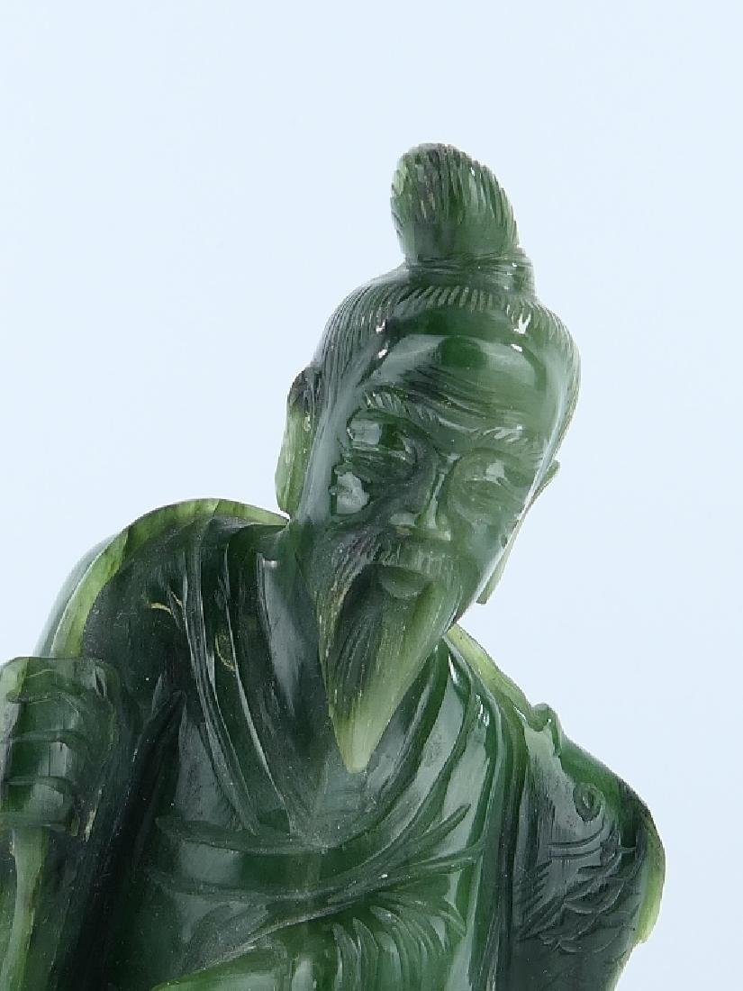 CHINESE SPINACH JADE STANDING FISHERMAN SCULPTURE - 2