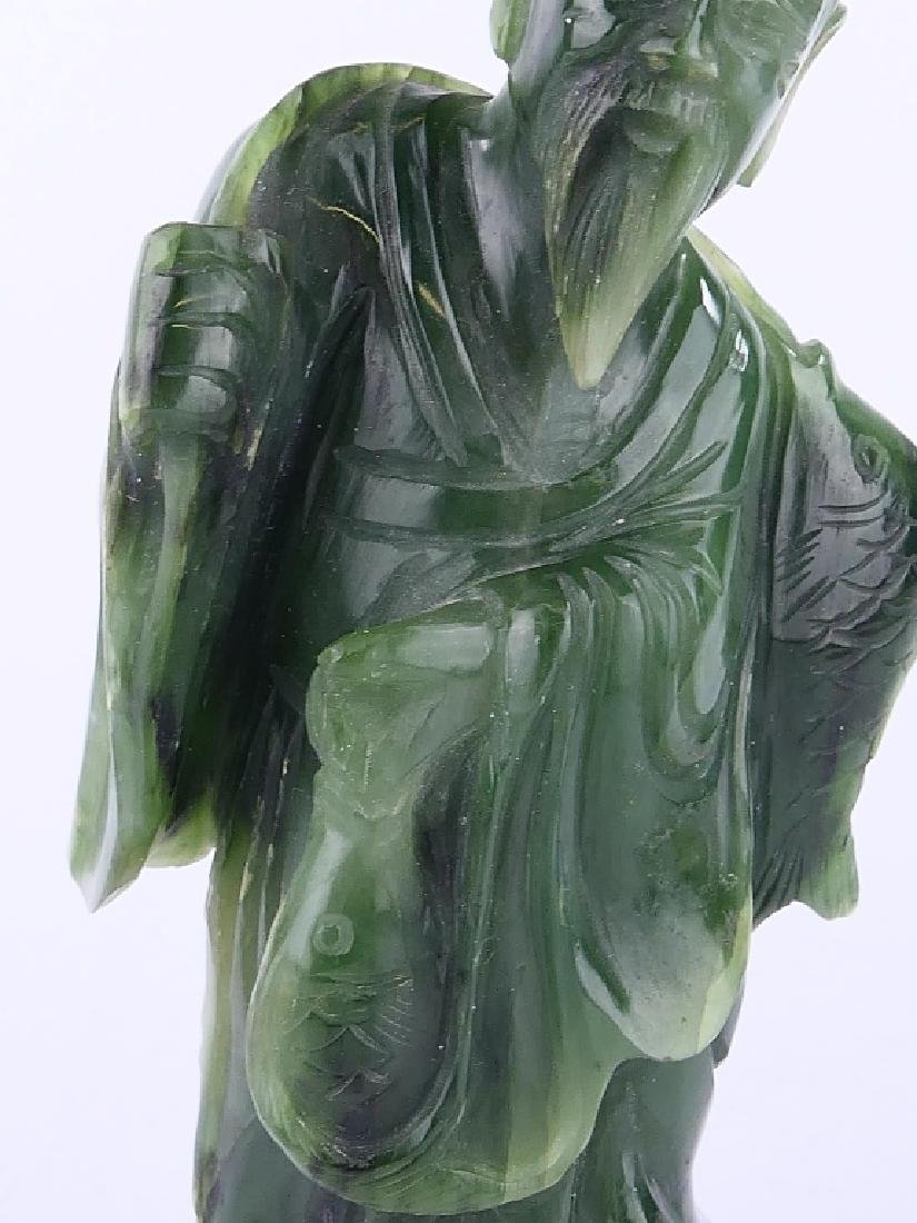 CHINESE SPINACH JADE STANDING FISHERMAN SCULPTURE - 3