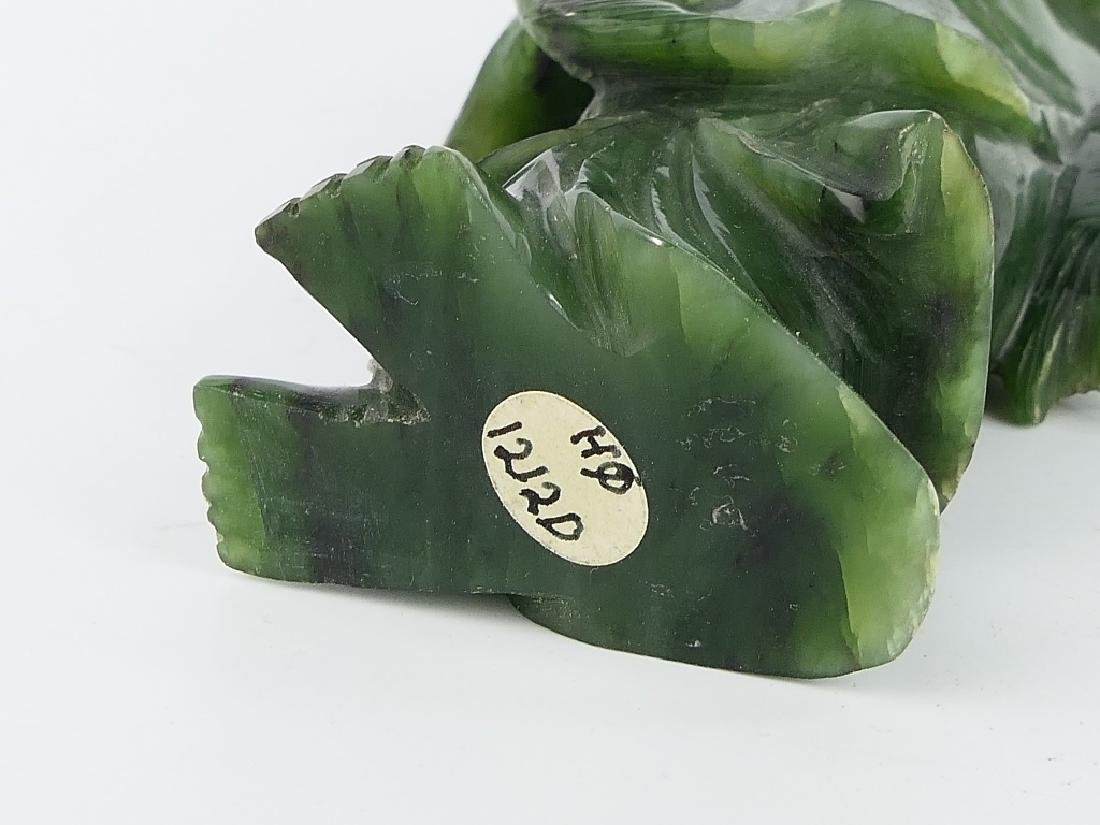 CHINESE SPINACH JADE STANDING FISHERMAN SCULPTURE - 5