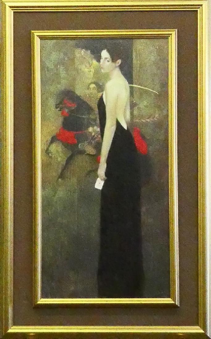 """FELIX MAS (b1935) """"BLACK DRESS"""" GICLEE ON CANVAS"""